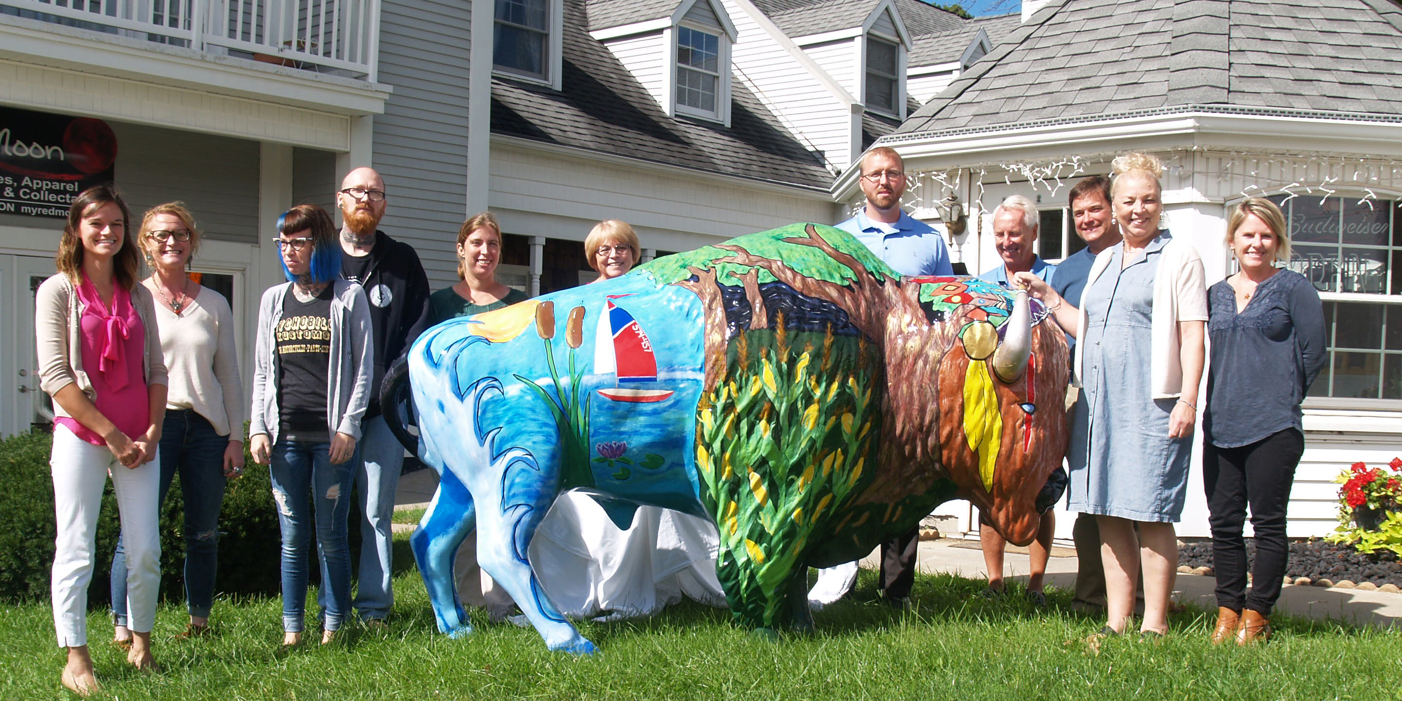 Pictured left to right: Andrea Keller, Syracuse-Wawasee Chamber of Commerce, Kristi Martin, The Chrome Lens Photography, Jessica Foster, Resident Artist, Shane Yoder, Anchor Down Tattoo, Megan McClellan, Syracuse-Wawasee Trail, Jeri Yoder, Lake City Bank, Erick Leffler, Dynamic Spine and Rehabilitation Center, David Mayer, Retired Business Owner, Jack Birch, Birch Law Firm, Sylvia Gargett, Northern Lakes Insurance and Kristy Rumfelt, Beyond Landscaping. Not pictured: Nicole Freiburger, Tranter Graphics.