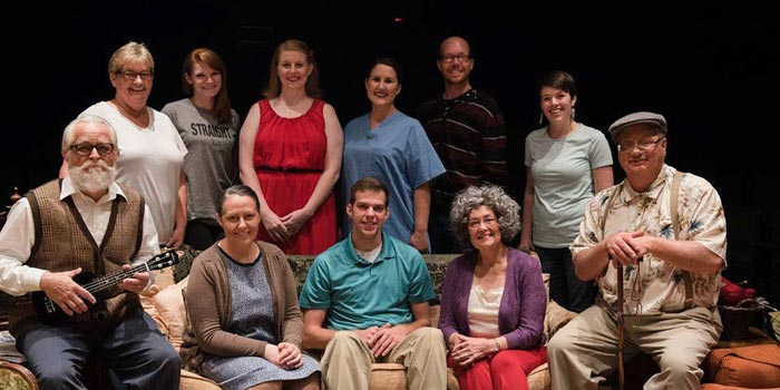 From left to right, back row: director Jennifer Mitchell Shepherd, stage manager Kayley Herbruck, Rebecca Crim-Katelynn, Staci Skiles Schaum-Katelynn, Jason D. Dugger at light board, assistant director Madisson Heinl. Front row: Gerald Cox as Frank, Melissa Jordan as Aida, Eric Totheroh as Nick, Lin Powell Metzger as Emma, and Curt Clevenger as Nuncio.