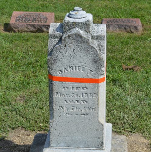 Shown is one of the grave markers already stabilized in the Pleasant View Cemetery. It may need to be cleaned later.