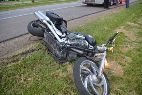 The motorcycle involved in the accident.