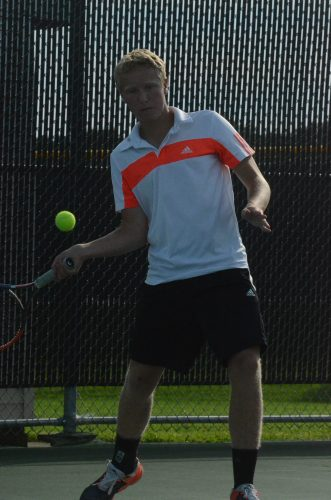 Andrew Gauger eyes a shot at No. 2 singles for Warsaw Tuesday night. The host Tigers topped Wawasee 5-0 in conference play.