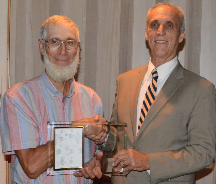 Stan Moore, North Manchester, left, was named the Democrat of the Year. David Kolbe, chairman of the county Democrat party, is shown on the right.