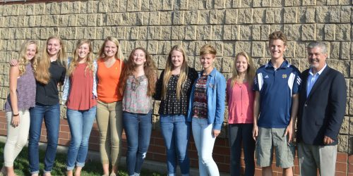 Just a handful of 2016-2017 selected KYLA members. Pictured, left to right: Emma Ross (Triton), Sarah Bingham (Lakeland Christian Academy), Hannah Wanemacher (Triton), Kolbie Mason (Triton), Rozlyn Bishop (Whitko), Hanna Haines (At Large member, Wawasee), Jacqueline Werstler (Whitko), Baylee Wiley (Lakeland Christian Academy), Jared Mikel (At Large member, Tippecanoe Valley), and Tony Ciriello (KYLA Moderator).