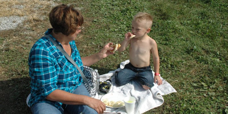 Bernice Anderson of North Webster enjoyed a burger with her grandson Bentley Malak.