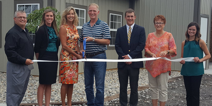 Shown at the ribbon cutting, from left, are Rob Parker, Kosciusko Chamber of Commerce President and Chief Executive Officer; Jen Kerns, Kosciusko Chamber; Lynette Jackson; Brad Jackson; Chris Hanson, 1st Source Bank; Kay Young, Todd Realty; and Andrea Reed, Syracuse-Wawasee Chamber of Commerce. (Photo provided)