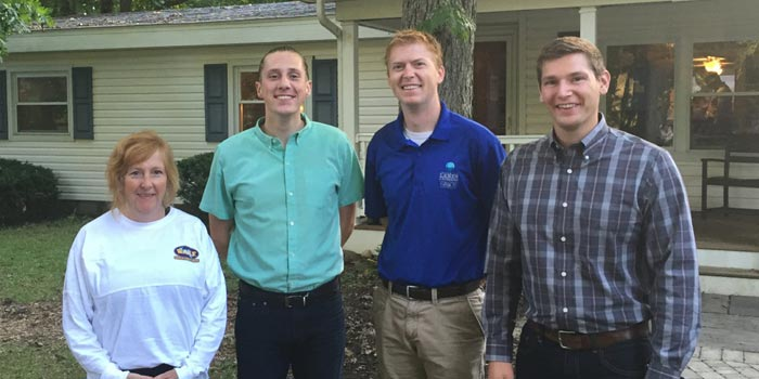 Pictured at the Wawasee Area Conservancy Foundation are Heather Harwood, Executive Director, Wawasee Area Conservancy Foundation; Ryan Workman, City of Warsaw; Dr. Nathan Bosch, Director, Center for Lakes and Streams at Grace College; Seth Bingham, Grace College Student