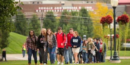 Students on the Grace College Campus.