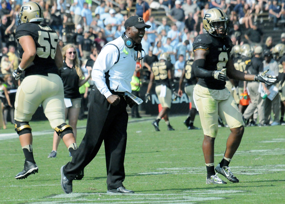 Purdue head coach Darrell Hazell reacts as his team builds a 24-14 win over Nevada Saturday afternoon. (Photos by Dave Deak)