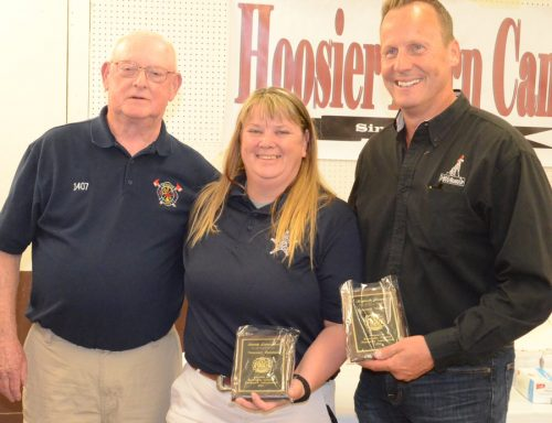 Roger Gelbaugh presents Sarah Lancaster and Kenn Konze, honorary member plaques.