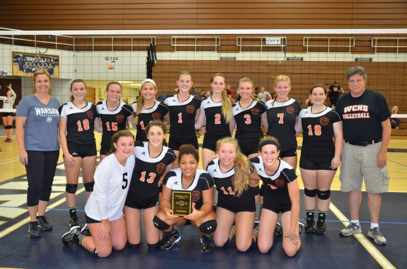 The Warsaw JV volleyball team, coached by Chandra Hepler, won the Michigan City Invitational on Saturday. The JV Tigers are now 13-1 on the season (Photo provided by Doug Dickerhoff)