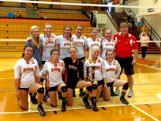 The Warsaw freshman volleyball team, coached by James Schmidt, won its own invitational on Saturday. The frosh Tigers are now 16-0 on the season (Photo provided)