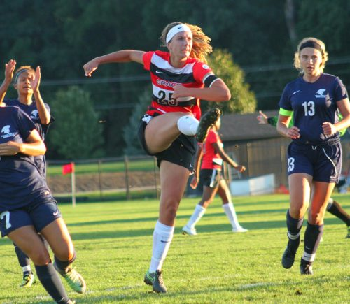 Grace College's Meredith Hollar scored the match's lone goal to beat Missouri Baptist 1-0 Saturday night. (Photo provided by the Grace College Sports Information Department)