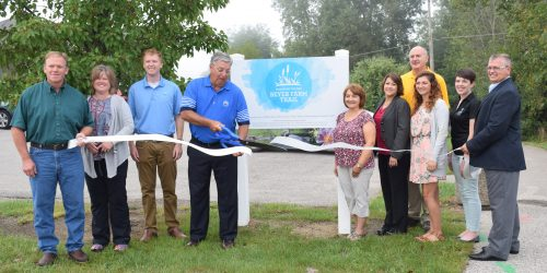 Pictured are Larry Plummer, Warsaw Parks Superintendent, Theresa Sailor, watershed coordinator for the Clean Waters Partnership, Dr. Nate Bosch, Director of Center For Lakes and Streams, Mayor Joe Thallemer, Darci Zoleman, program director at Kosciusko County Soil and Water Conservation, Sandra Piarra, Old National Bank, Craig Allebach , Winona Lake Town Coordinator, Eileen Oaks, Outreach and Marketing Specialist The Watershed Foundation, Madisson Heinl, Communications Specialist for Center For Lakes and Streams, Rob Parker, Kosciusko County Chamber of Commerce President and CEO.