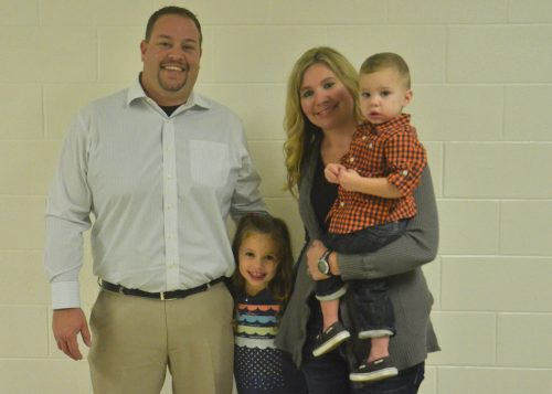 New Wawasee softball coach Mike Barger with his wife, Jessica, and children, Addison and Carter. (Photo by Nick Goralczyk)