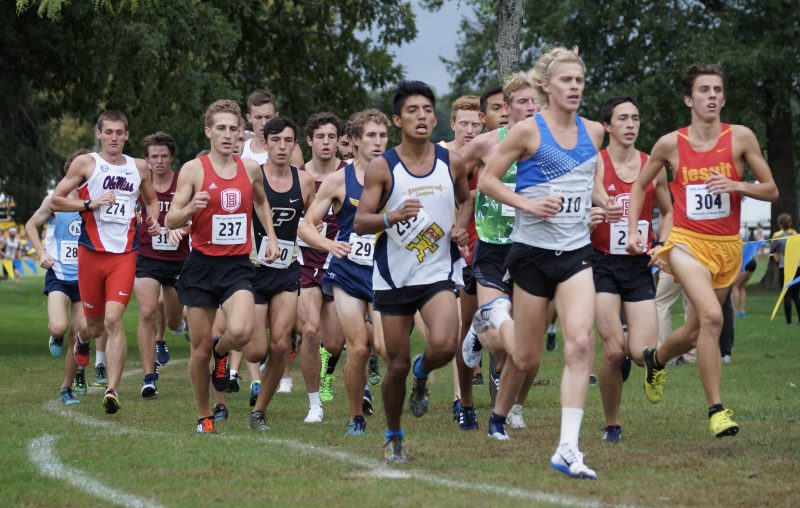 Former WCHS star runner Jake Poyner leads the pack in the Joe Piane Invitational at Notre Dame. Poyner, a senior at Lipscomb University, won the Open Race title (Photos provided by Lynn Murphy)