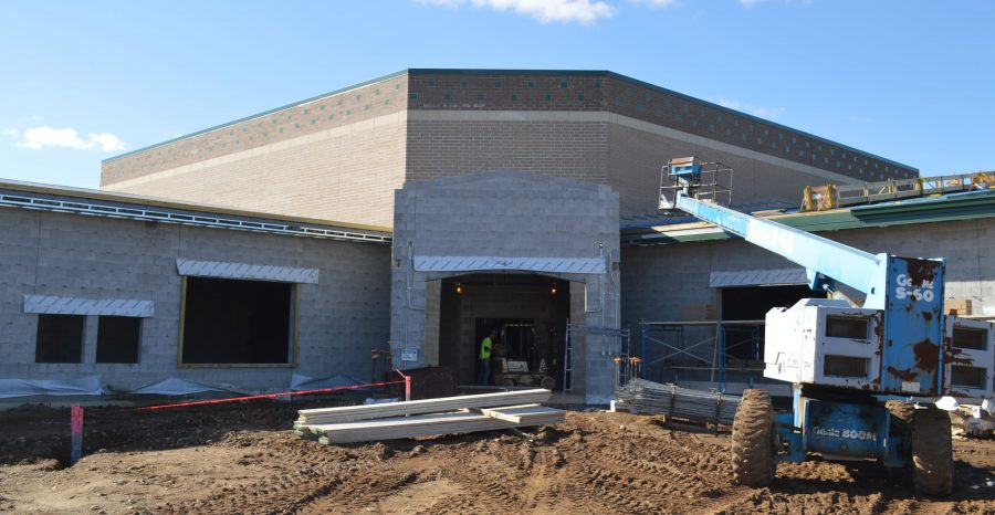 Shown is the main entrance to the new Syracuse Elementary School. The top portion looks closer to what the finished product will look like.
