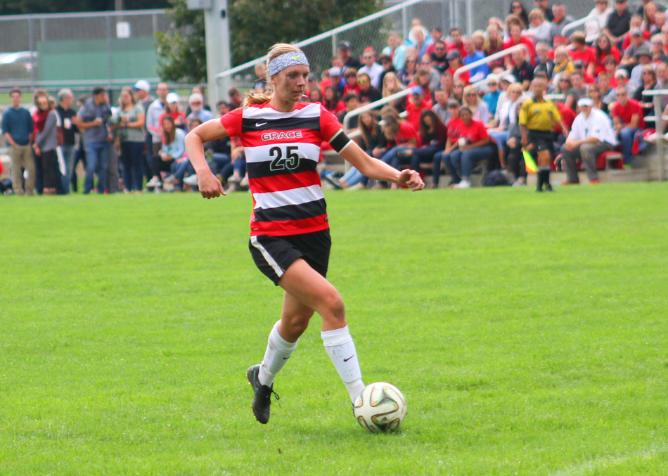 Meredith Hollar netted a hat trick as Grace rolled over Bethel Saturday afternoon. (Photo by Josh Neuhart)