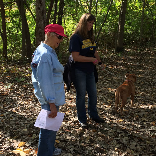 Jane Neff, Linda Neff and Nala enjoyed the beautiful weather on Saturday as they participated in the WACF Falltastic Trail Walk.