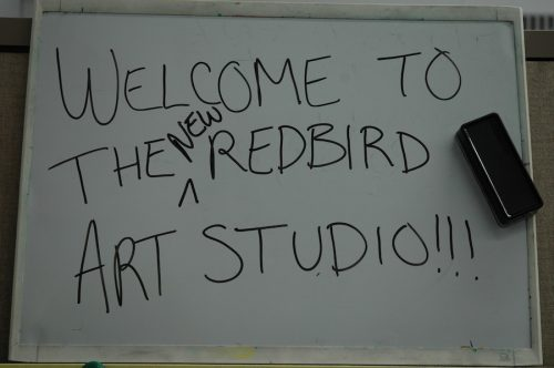 Sign welcomes visitors to RedBird Art Studio
