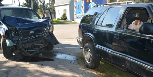Two vehicles were involved in an accident at the corner of James and Fourth streets in Milford on Tuesday, Oct. 4. (Photo by Keith Knepp)