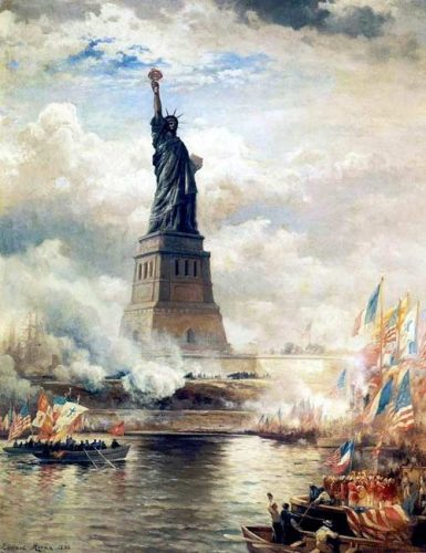 """""""Unveiling the Statue of Liberty Enlightening the World"""" by Edward Moran"""