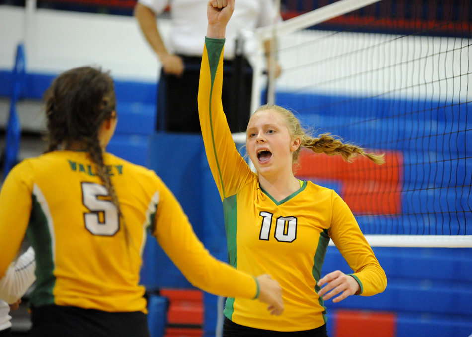 Tippecanoe Valley's Sophie Bussard celebrates a point against Whitko.