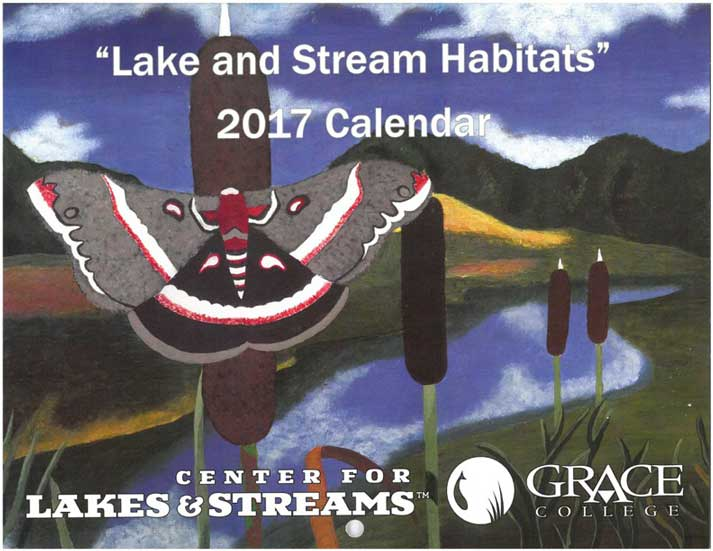 """The 2017 """"Lake and Stream Habitats"""" Calendar. Delaney Keirn's piece, """"A Moth's View,"""" is pictured on the cover. Keirn won fifth place in the eleventh grade category."""