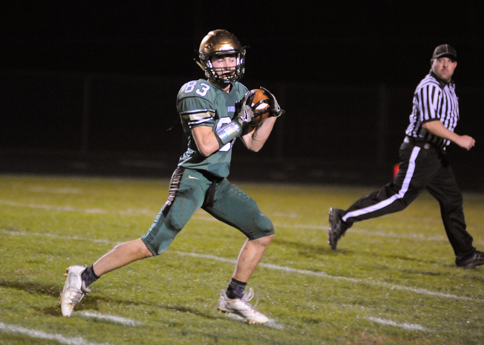 Wawasee's Cole VanLue hauls in a 45-yard touchdown pass.