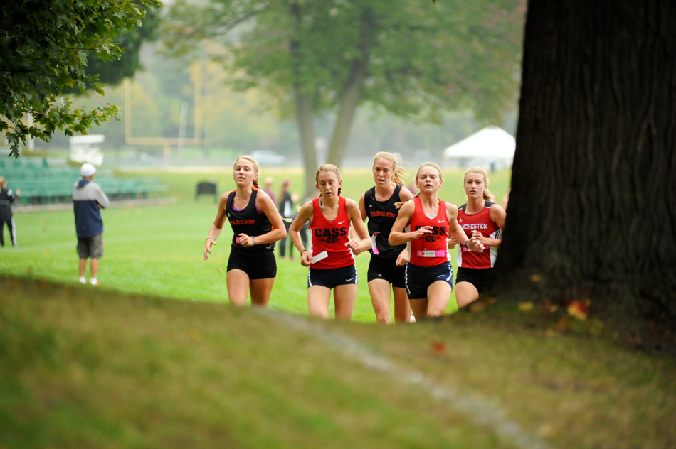 The top five runners from the Culver Academy Cross Country Regional, from left, Mia Beckham, Miah Martin, Allison Miller, Alexis Jackson and Rae Bedke make their way through the course Saturday morning. (Photos by Mike Deak)
