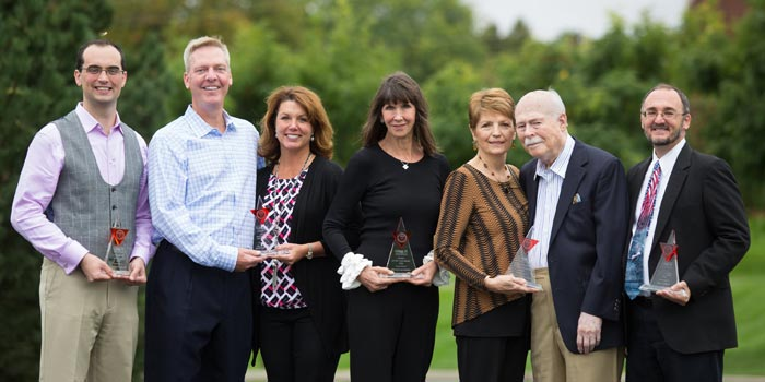 2016 Grace College & Seminary Alumni Award recipients (left to right): Jon Allan, Dr. Steve and Jennifer Hollar, Phyllis Marwah, Sandy and Dick Allen, and Jerry Abbitt.