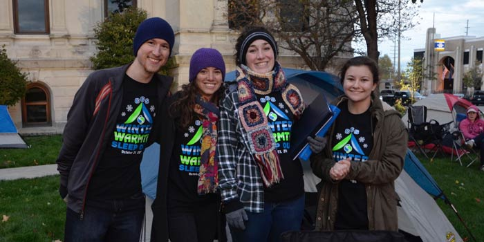 Pictured from left are Sleep Out participants John Parker, Michelle Parker, Lindsay Rex and Lacey Lisenbee