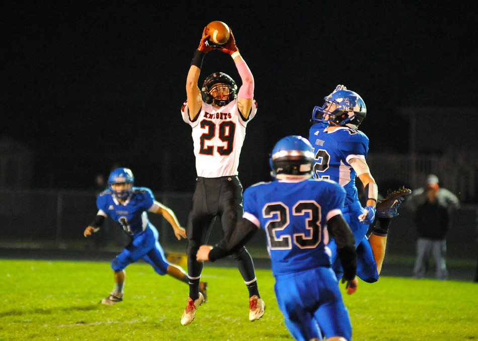 Southwood receiver Jeffrey Finickle pulls in a pass Friday night during the Knights' 39-20 win at Triton. (Photos by Mike Deak)