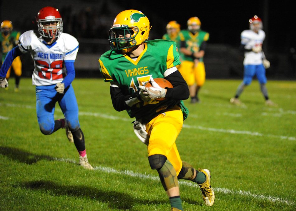 Tippecanoe Valley's Wes Melanson finds room to run against West Noble.