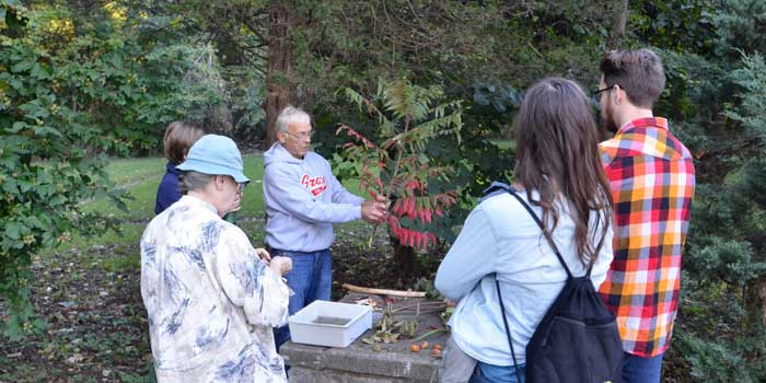 Luke Hunt led the interpretive hike identifying some common plants.