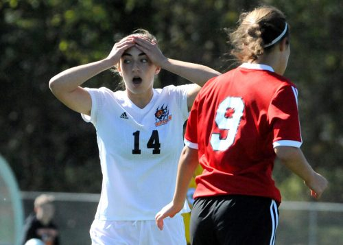 Warsaw's Sydney Wiedeman can't believe the outcome of a missed opportunity in the first half.