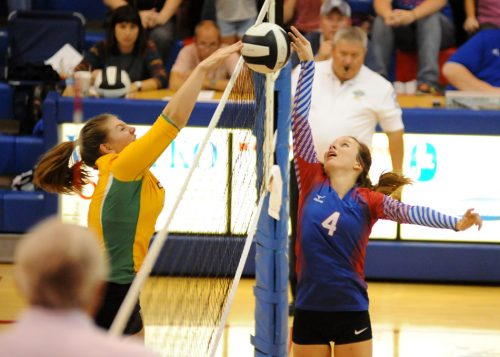 Tippecanoe Valley's Shayleigh Shriver and Whitko's Haley Yohe spar at the net.