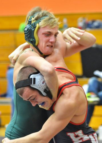 Wawasee's Braxton Alexander went 5-0 at 120 in Saturday's invite. He was one of four weight class champions for the Warriors.