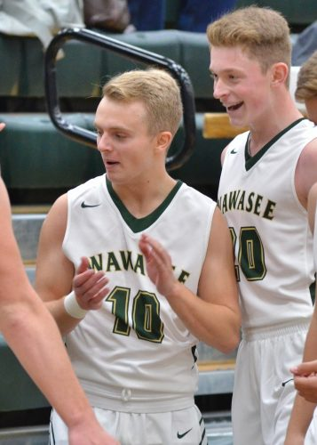 Cayden Wegener (10) shows a sign of relief after hitting a buzzer-beating three to end the third quarter.