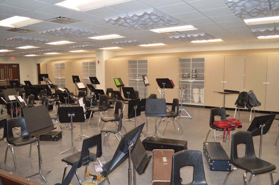 "Shown is the remodeled band room at Wawasee High School. The ""pit"" was removed and the floor was leveled."