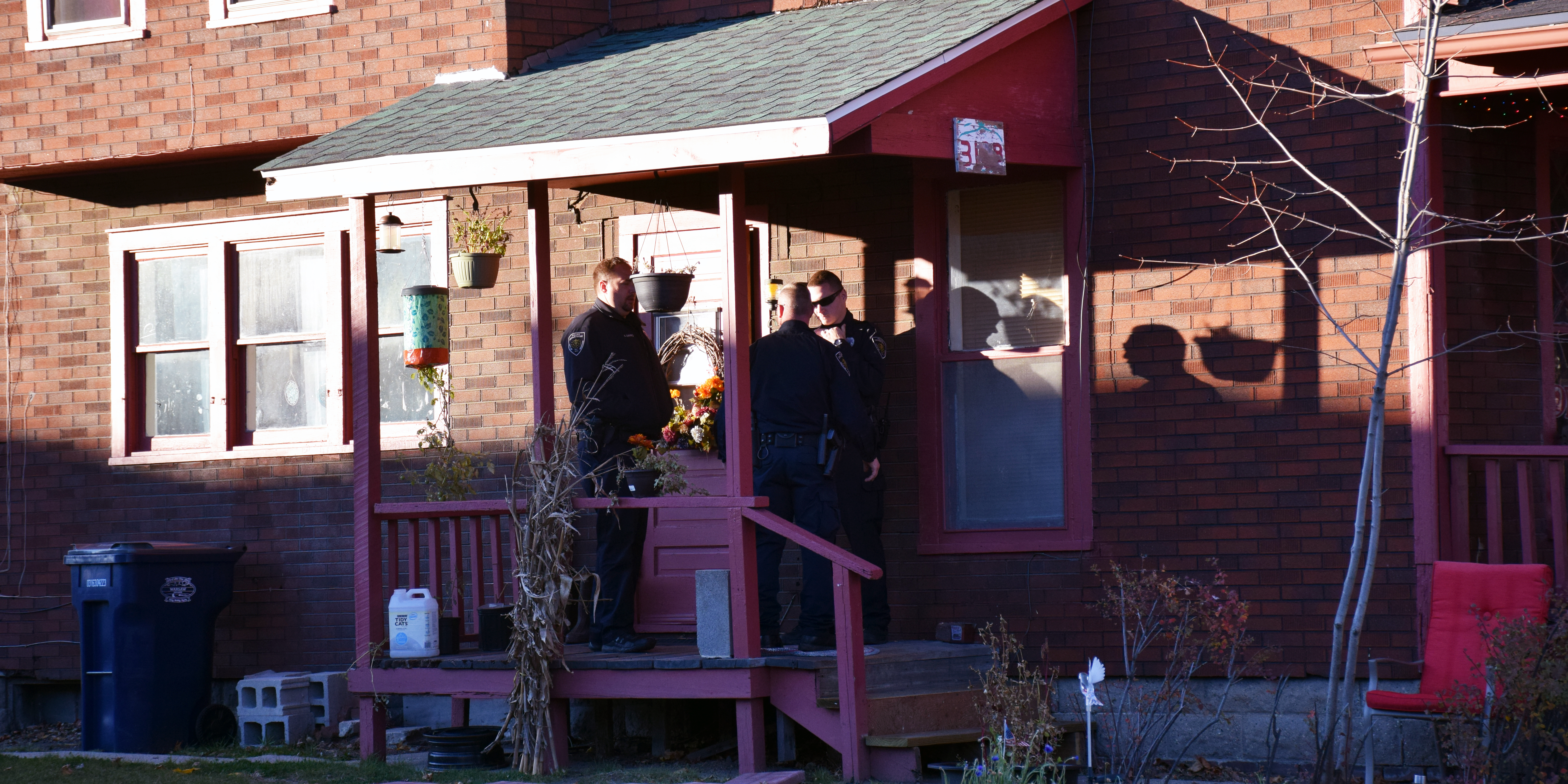 Officers on the scene of the stabbing that occurred Monday afternoon.