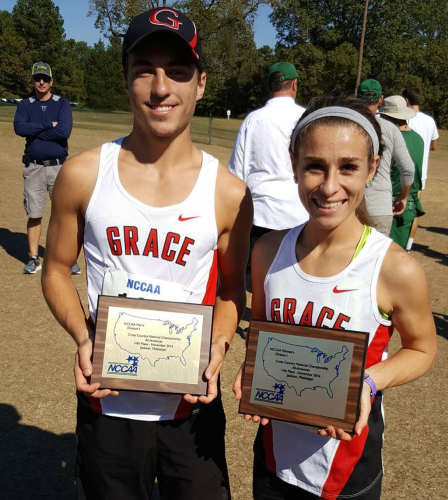 ... (left) and ... earned All-American honors for Grace College at the ..