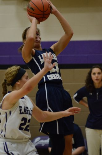 Hope Fancil rises up for a jumper for LCA Saturday. Fancil scored six key points in the final quarter as the Cougars won 32-21 at Elkhart Christian Academy.