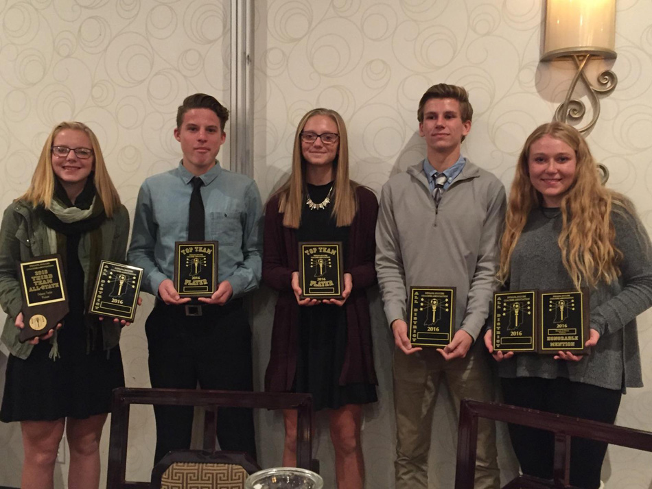 Warsaw Community High School soccer players, from left, Delaney Taylor, Justus Voss, Brenna Shipley, Eric Ocock and Breck Jackson were among the dozens of soccer players in Indiana to win awards from the Indiana Soccer Coaches Association. (Photo provided)
