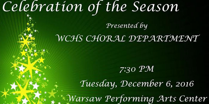 December Holiday Concert at 7:30 p.m. Tuesday, Dec. 6, in the WCHS Performing Arts Center.