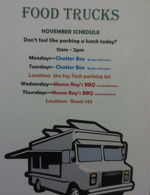 This week's food truck schedule at Ivy Tech