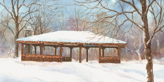 The Ruddell Pavilion decorated with Christmas Lights in a painting by Susie Brandes.