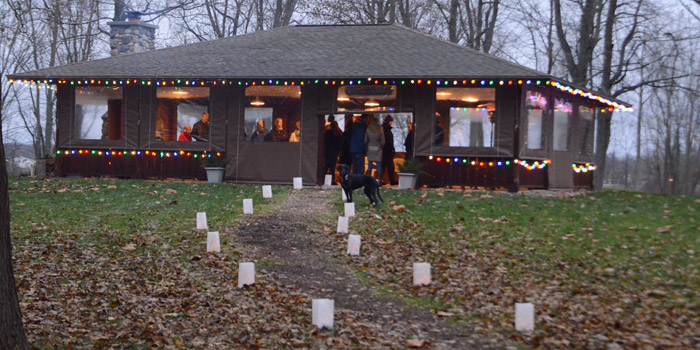 Decorated with multi-colored Christmas lights and a canalaria light path welcomed guests to the WACF Christmas Lighting Social Friday evening.