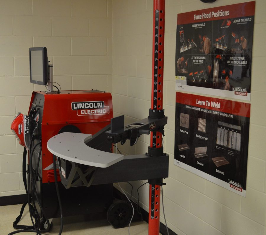 Shown is a virtual welder recently obtained for the Pathways program. It gauges welding techniques of students and can also be used for actual welding.