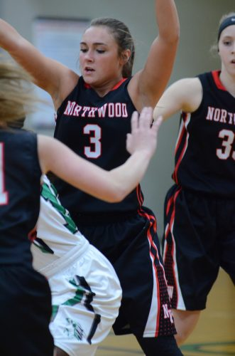 Taitlyn Trenshaw plays some tough defense.
