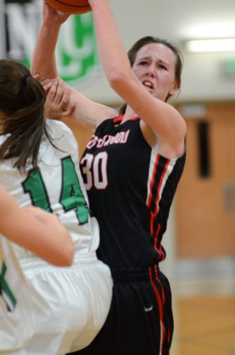 Savannah Fenestra goes inside for a hoop for NorthWood during a 49-30 NLC win at Concord Friday night.